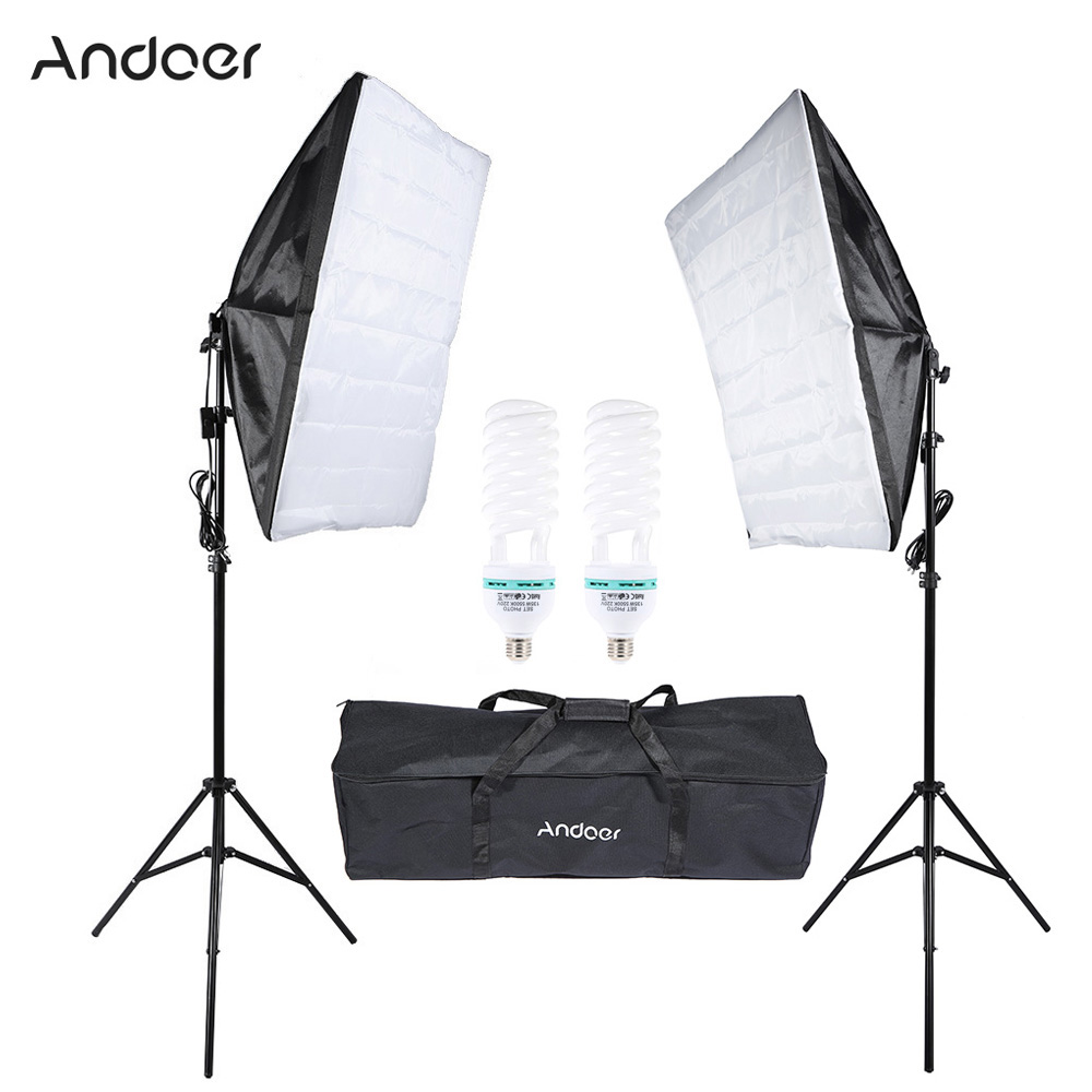 Andoer Photography Studio Lighting Kit Cube Umbrella Softbox Tent Photo Video Equipment  Bulb Tripod Stand  Softbox Carrying Bag