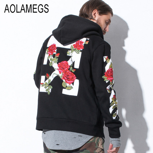 Aolamegs Men Hoodies Fashion Vintage Floral Embroidery Cardigan Jacket Hooded Zipper Outwear Lovers Couples Red Black Hoodie