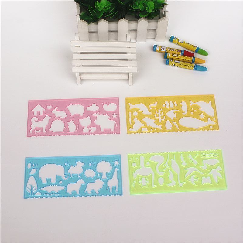 Funny Nature Scene Drawing Pattern Ruler 1 Set Of 4 Pieces Different Animal Ruler Kids Drawing Stationery
