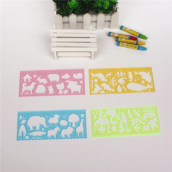 Funny nature scene drawing pattern ruler 1 set of 4 pieces Different animal kids stationery - discount item  13% OFF Drafting Supplies