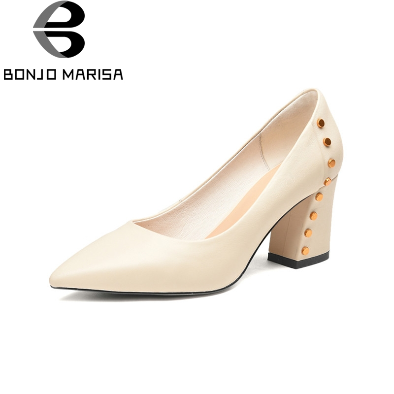 BONJOMARISA 2018 Spring Autumn Brand Genuine Leather Pointed Toe Pumps High Heels Shoes Woman Rivet Elegant Women Lady Shoe creativesugar elegant pointed toe woman