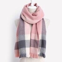 2017 Brand New Fashion Winter Warm Scarf 100 Acrylic Large Rectangular Blanket Shawl Fight Color Tassel