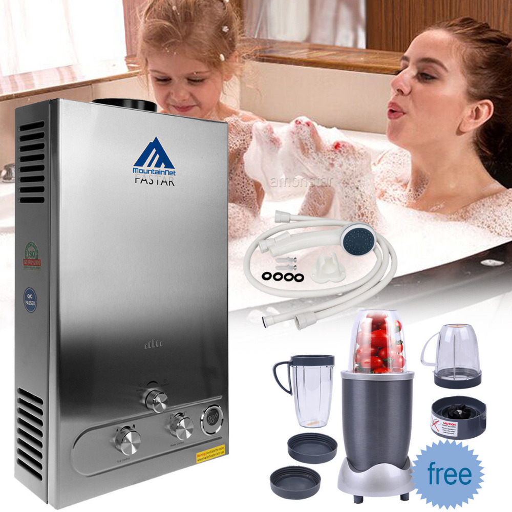 цена на (Ship from DE) 12L Tankless LPG Gas Hot Water Heater 3.2 GPM Instant Boiler Bathroom Home W/ Food Blender Free