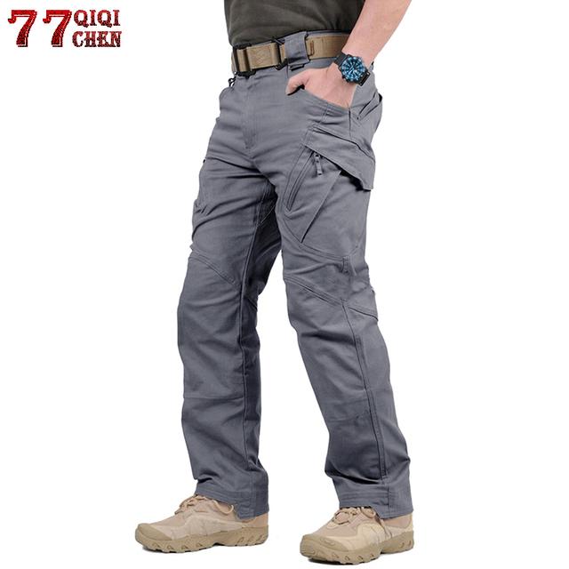 Прочные штаны армейские военные Стиль брюки-карго Для мужчин IX9 армейские брюки Повседневное рабочие брюки SWAT Тонкий Карманный мешковатые штаны