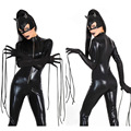 Hot 2016 New Sexy Cat Suit Fancy Jumpsuits Shiny Black Faux Leather Cat Costume Jumpsuits Halloween Costumes For Women