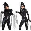 Hot 2016 New Sexy Terno Do Gato Fantasia Macacões Preto Brilhante Falso Couro Gato Macacões Traje Trajes de Halloween Para As Mulheres