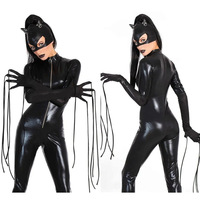 Hot 2016 New Sexy Cat Suit Fancy Tute Shiny Black Faux Leather Cat Costume Tute Costumi di Halloween Per Le Donne
