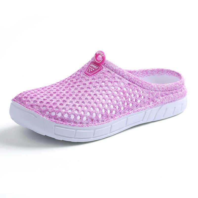 קיץ נשים סנדלי סוכריות צבעים חוף שטוח סנדלי הולו מתוך רשת לנשימה נשים נעלי בית נעליים יומיומיות כפכפים Zapatos