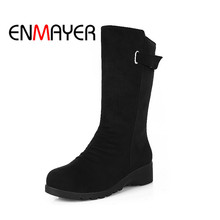 ENMAYER Spring And Summer 2018 New Square Toe Buckle Strap Women Boots Middle Heels Short Plush Casual Shoes WHY87