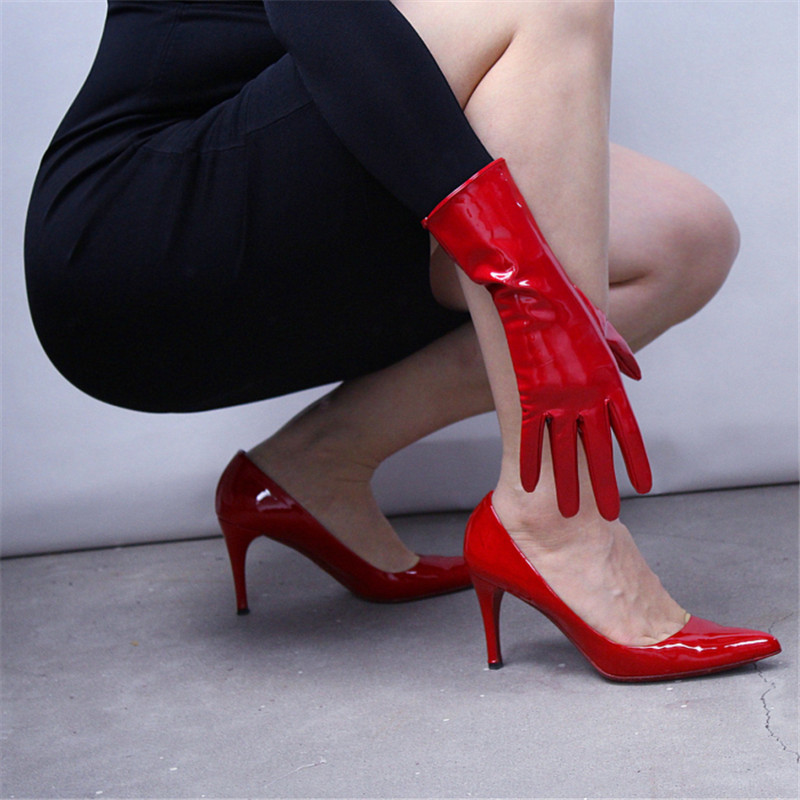 Patent Leather Red Gloves 28cm Bright Red Big Red Medium And Long Section Warm Emulation Genuine Leather Bright Leather WPU96