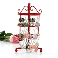 Mordoa Free Shipping New 72 Holes Earring Jewelry Display Storage Stand Metal Revolving Necklace Jewelry Display