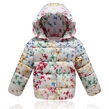 Korean Children clothing Girls Winter Kids Down parka Hooded butterfly Print Child jacket Fashion warm outerwear White Pink