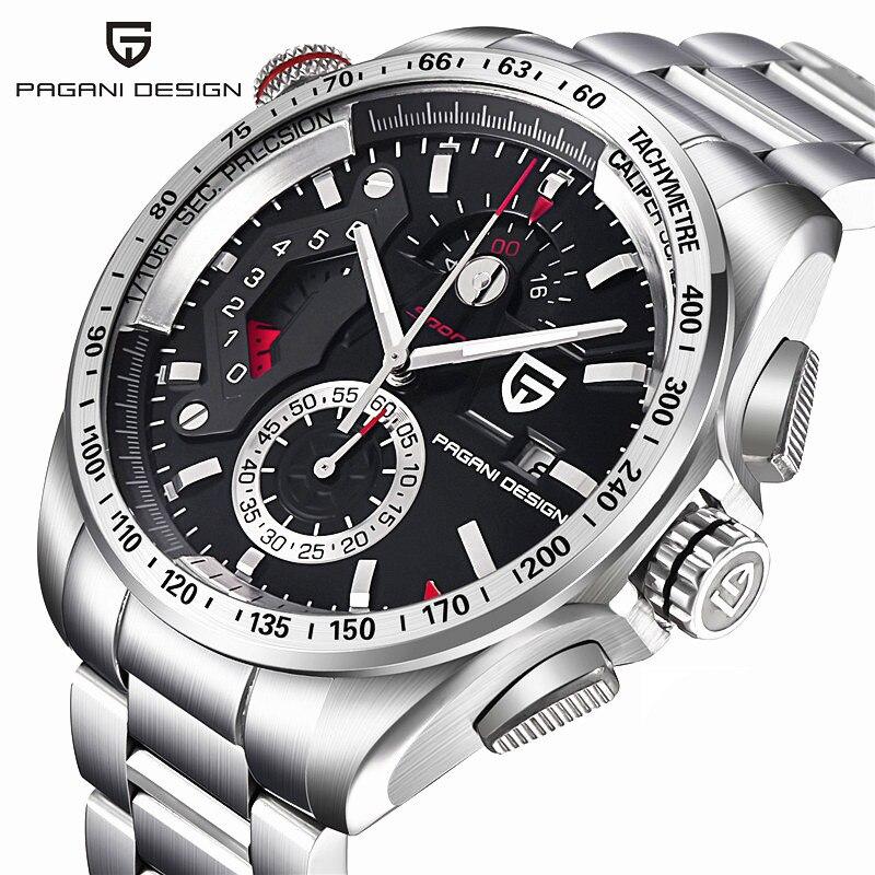 Элитный бренд PAGANI Дизайн Мода Хронограф Спортивные часы для мужчин reloj hombre Полный нержавеющая сталь кварцевые часы Relogio