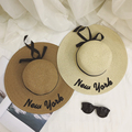 2016 fashion New York Letter Embroidery Summer hat brand Large Brim Sunbonnet Straw hat for Women Cool bow Sun Hat Foldable