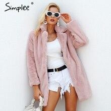 Simplee элегантный розовый лохматый женские пальто с искусственным мехом уличная осень Зимние теплые плюшевые Тедди пальто плюс размер пальто Вечерние
