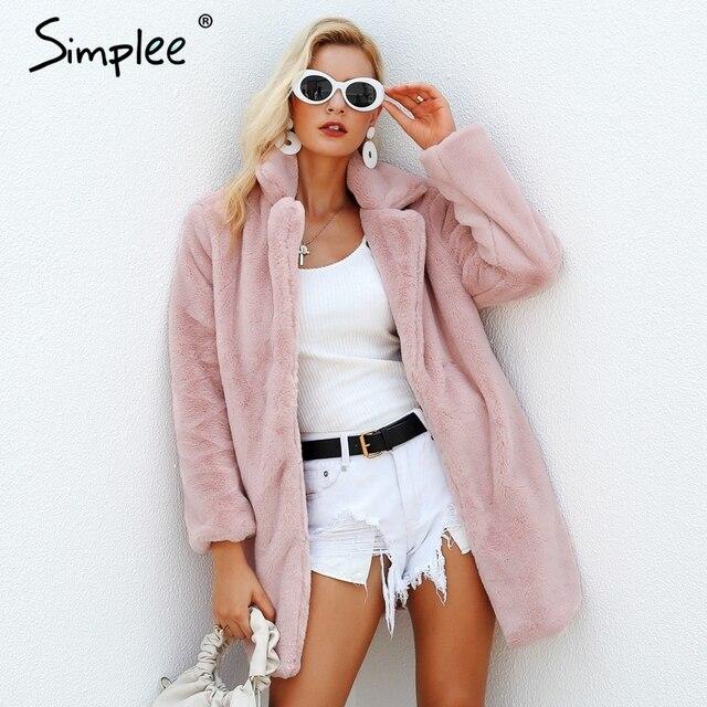 Simplee élégant rose shaggy femmes fausse fourrure manteau streetwear automne hiver chaud peluche teddy manteau femme grande taille pardessus fête