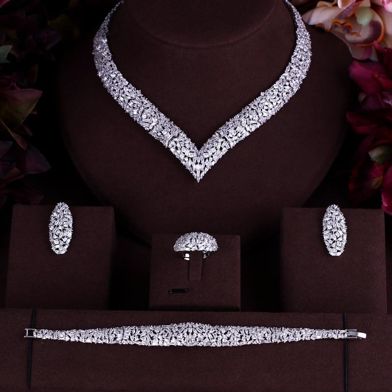 janekelly Luxury cubic zirconia necklace bracelet earrings and ring 4pcs dubai full jewelry set for women,bridal dress dinner a suit of charming hollow out necklace bracelet ring and earrings for women
