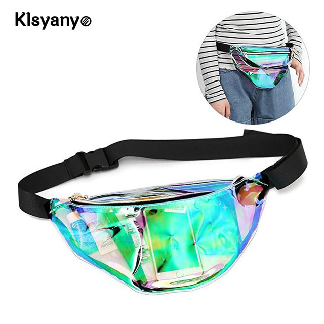 Women Fashion Hologram Laser Waist Bag Fanny Pack Zipper Waterproof Chest Pack Bum Bag Beach Purse