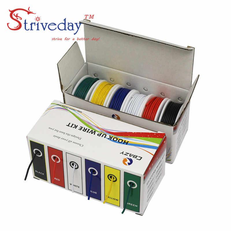 UL 1007 18 20 22 24 26 28awg fil PCB | Ligne de câble, kit de mélange de 5 couleurs, boîte de 2 paquets de fil électrique en cuivre bricolage