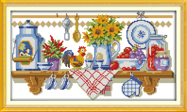 The Kitchen Corner Counted Printed On Fabric Dmc 14ct 11ct Cross Sch Kits Embroidery