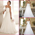 2016 Hot Selling Custom Made A-Line Wedding Dresses From Mariage Bridal Dress Pleated Chiffon baguettes Wedding Dress DJ9545