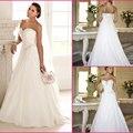2016 venda quente Custom Made A linha de vestidos de noiva de Mariage vestido de noiva plissado Chiffon baguetes vestido de noiva DJ9545