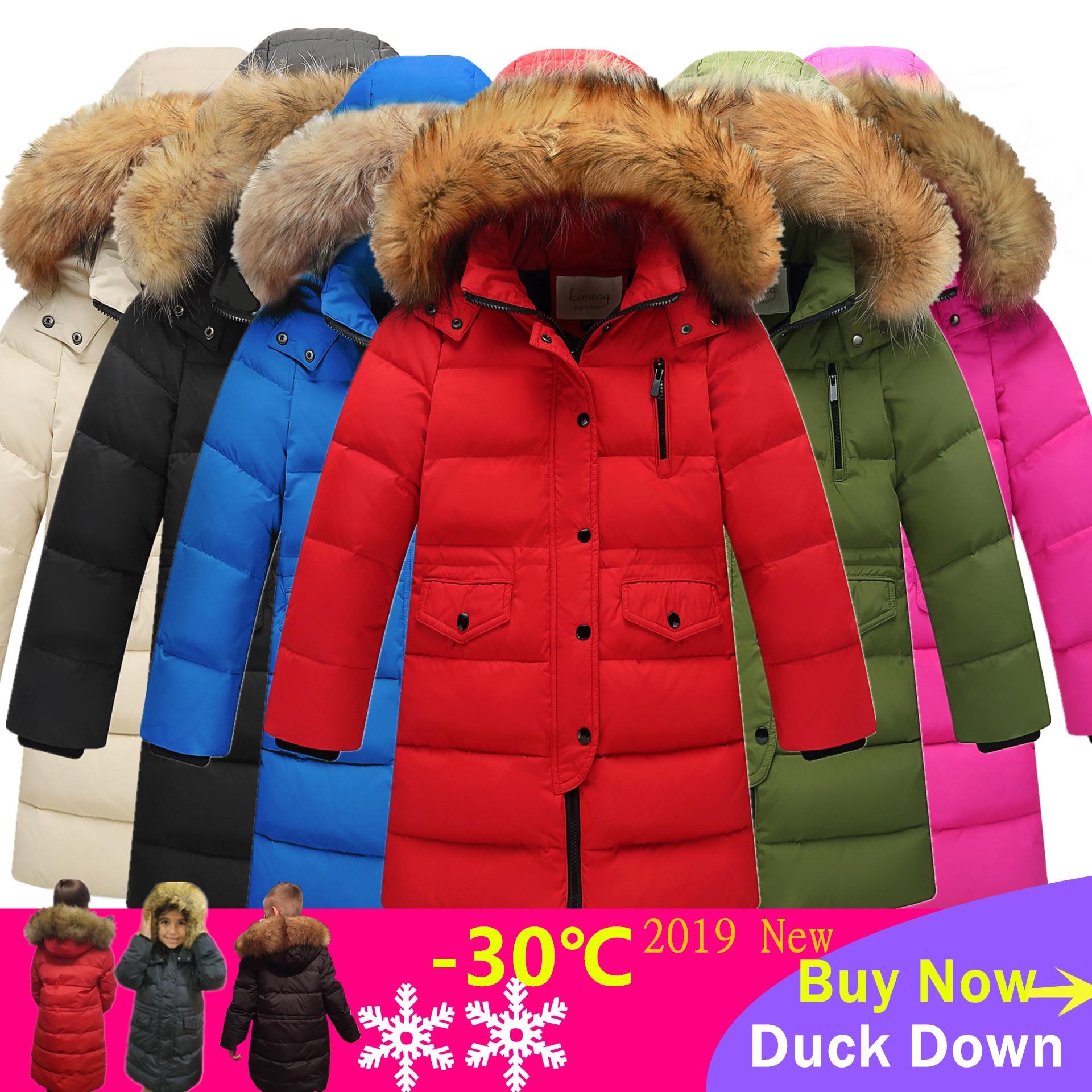 Coats Down-Jackets Hooded Duck-Down Warm Girls Winter Long Children Outerwear Russia