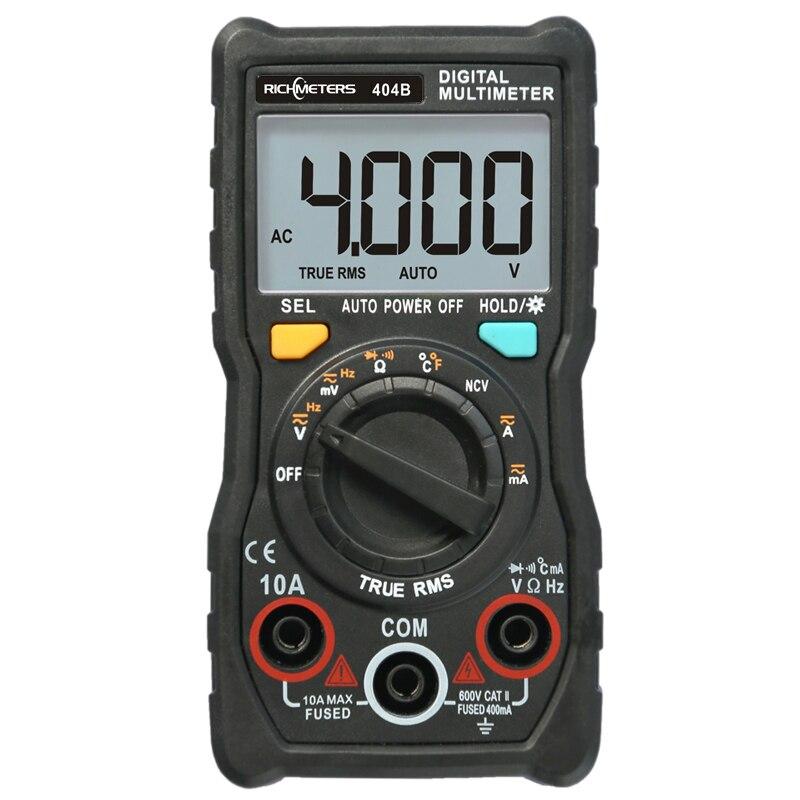 RICHMETERS 404B Digital Multimeter Temperatur Auto-Ranging True-RMS intelligente NCV 4000 Zählt AC/DC Spannung 10A strom