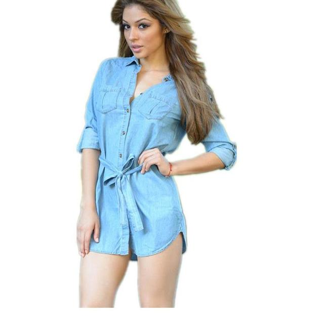e93f8aeb21 New Style Light Blue Blue Button Down Belted Denim Shirt Dress Mini Dresses  For Women LC22424 Vestidos Casuales De Mujer