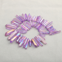 Pink Purple Violet Titanium Coated Quartz Crystal Points Drilled Sticks Spikes 15inch Strand