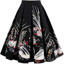 Elegant Animal Swan Print Skirts Vintage A-line High Waist Pleated 1950s Skirt For Womens Cotton and Spandex