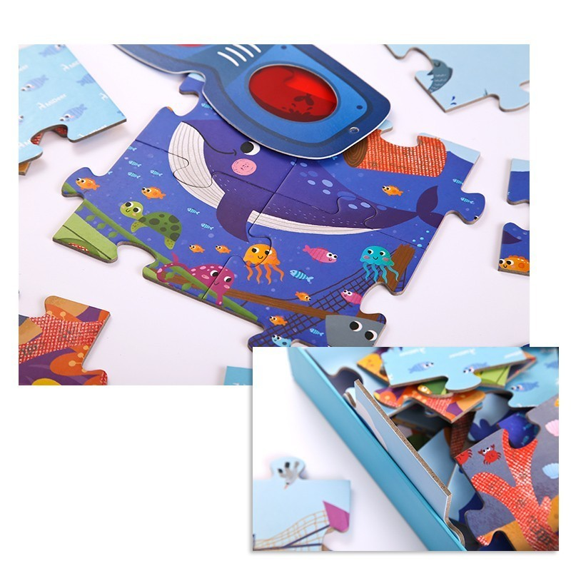 Detective In Space Paper Puzzle Children Creative Toy With Magnifier Gifts for Preschool Kids in Puzzles from Toys Hobbies