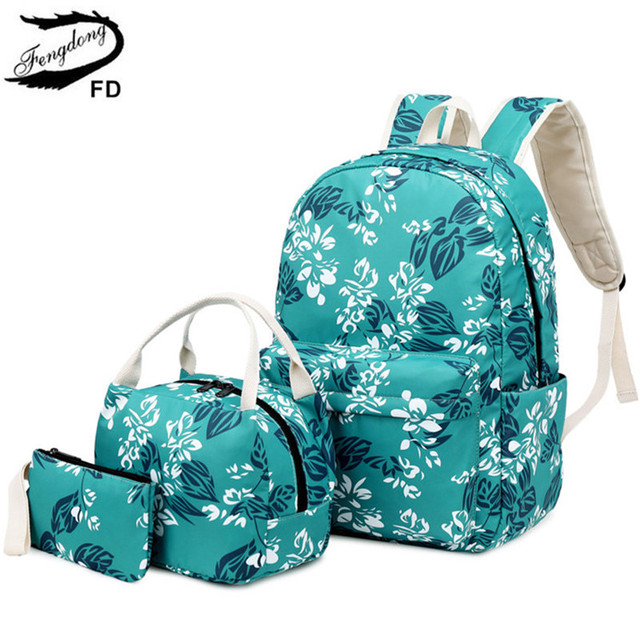 FengDong girls flower school backpack kids school bag set chinese style pen pencil bag floral backpacks for children bookbag