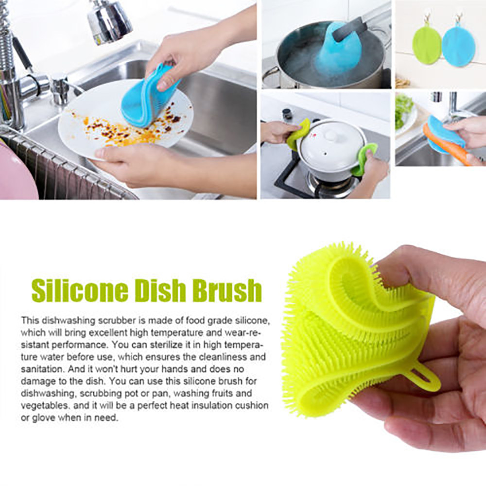 7 Color Round Silicone Dish Wash Sponge Scrubber Soft Cleaning ...