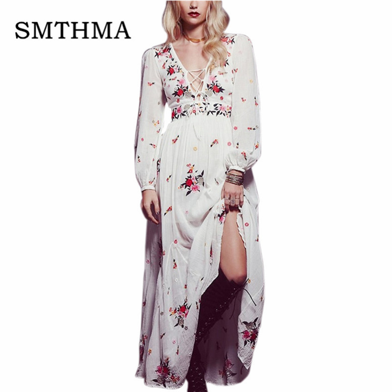 SMTHMA White boho long dress cotton 2019 Luxury runway Vintage floral Embroidery Casual maxi dresses hippie women Chic dress outfits para playa mujer 2019
