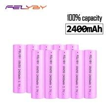 Бесплатная доставка! FELYBY 2-10 шт. 3,7 в 2400 мАч Li-Ion 18650 Nicd литиевая аккумуляторная батарея для зарядки фонарика