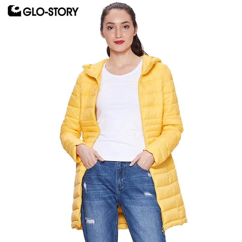GLO-STORY 2018 Fall Women's Winter Coat Lightweight   Parka   with Hooded Zipper Closure Ladies Winter Jackets Female Coats WMA-6475