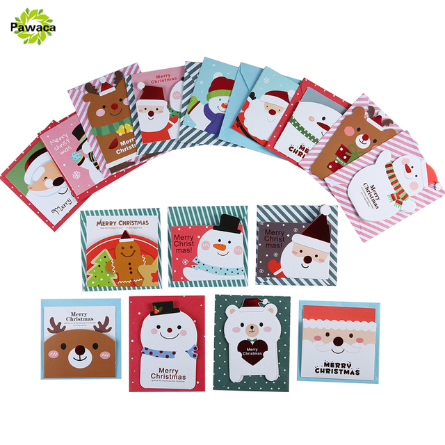 16 Card 16 Envelope Lot Cute Cartoon Small Santa Claus Snowman