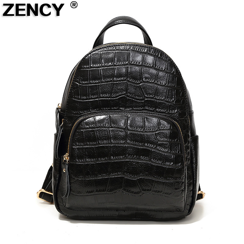 ZECNY Genuine Real Leather Women Ladies Stone Pattern Backpack Cowhide Girls School Shopping Bag Gray/Gray/Taro/Dark Blue/Black zency genuine leather backpacks female girls women backpack top layer cowhide school bag gray black pink purple black color