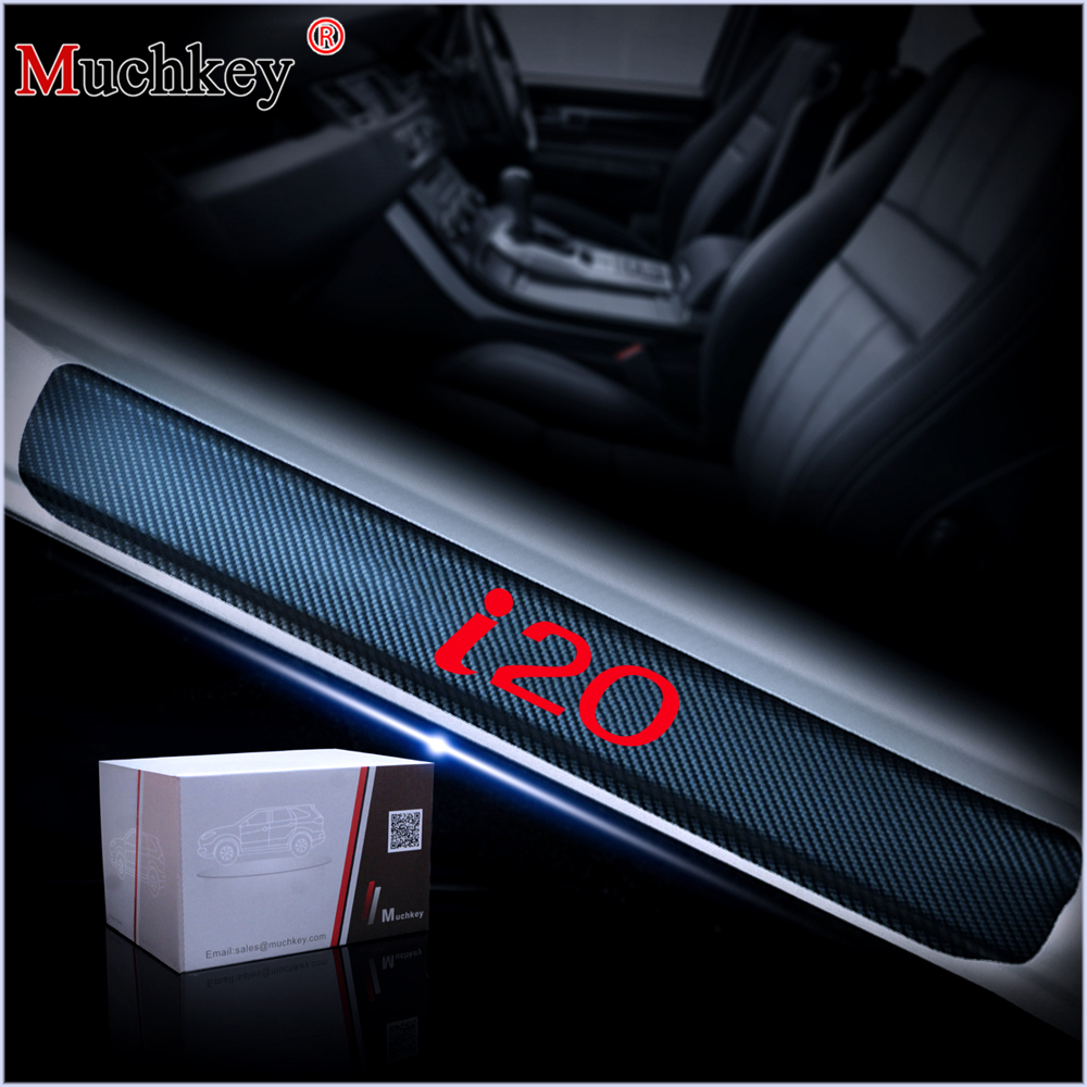 Car Door Sill Protector Scuff Plate Stickers For Hyundai I20 Door Threshold Plate 4D Carbon Fiber Vinyl Sticker Auto Accessories for toyota fj cruiser led door sill stainless steel scuff plate threshold sticker accessories 2 pcs
