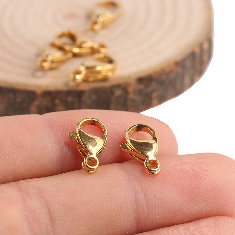 Onwear 20pcs 13x8mm Stainless Steel Gold Plate Lobster Clasp Hooks For Jewelry Making Diy Connector Findings