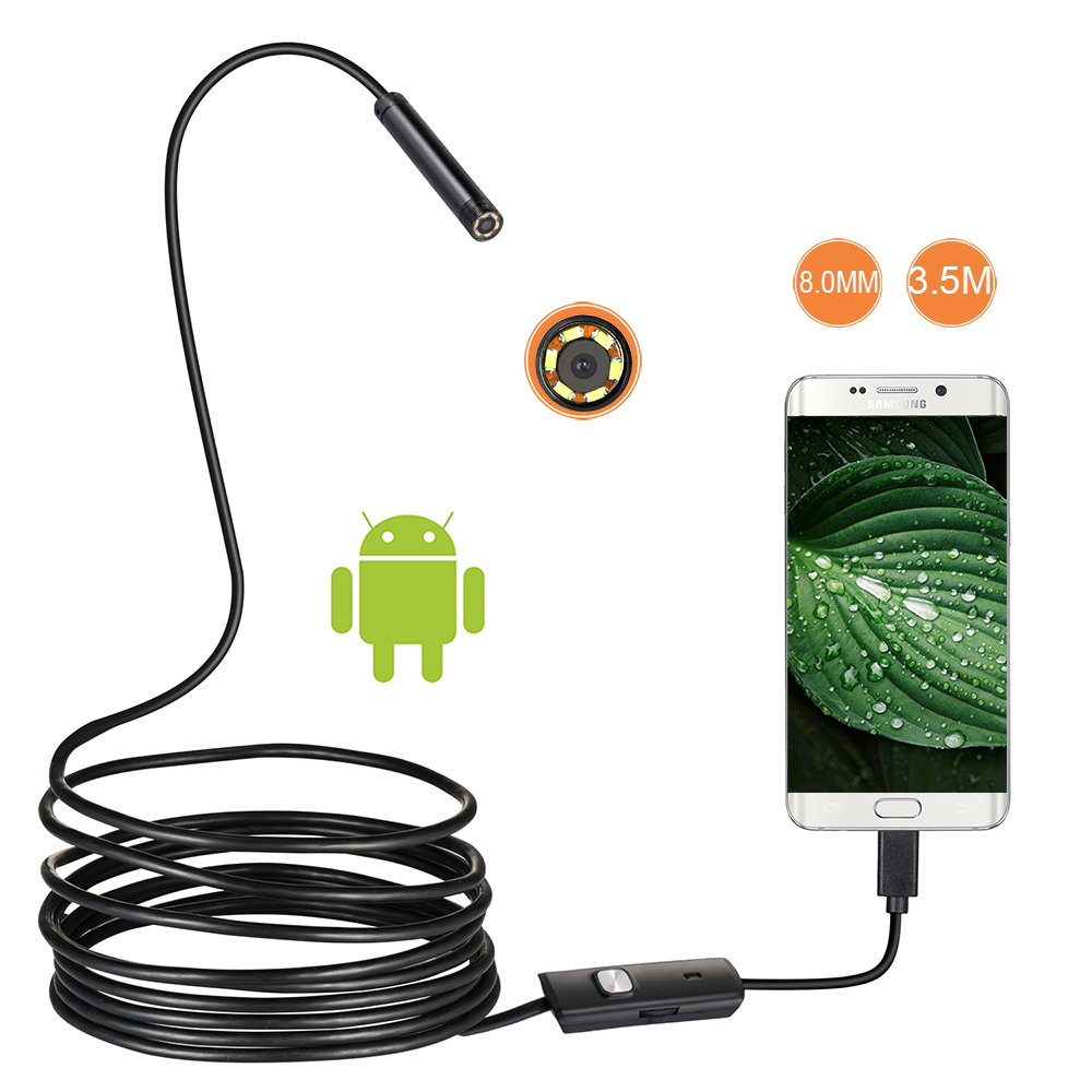 HD 8mm 1/2/5/3.5M Hard Cable Android USB Endoscope Inspection Borescope Tube Wire CMOS Camera Camcorder For OTG Android Phone
