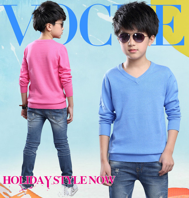 Free Shipping 2016 Boys V-neck Sweater New Spring Autumn Children Solid  Pullovers Sweaters Thin Basic Outerwear Coat