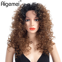 Aigemei Фигурные синтетические парики для Для женщин жаропрочных Женский парики Для женщин естественный афро парики 20 дюймов