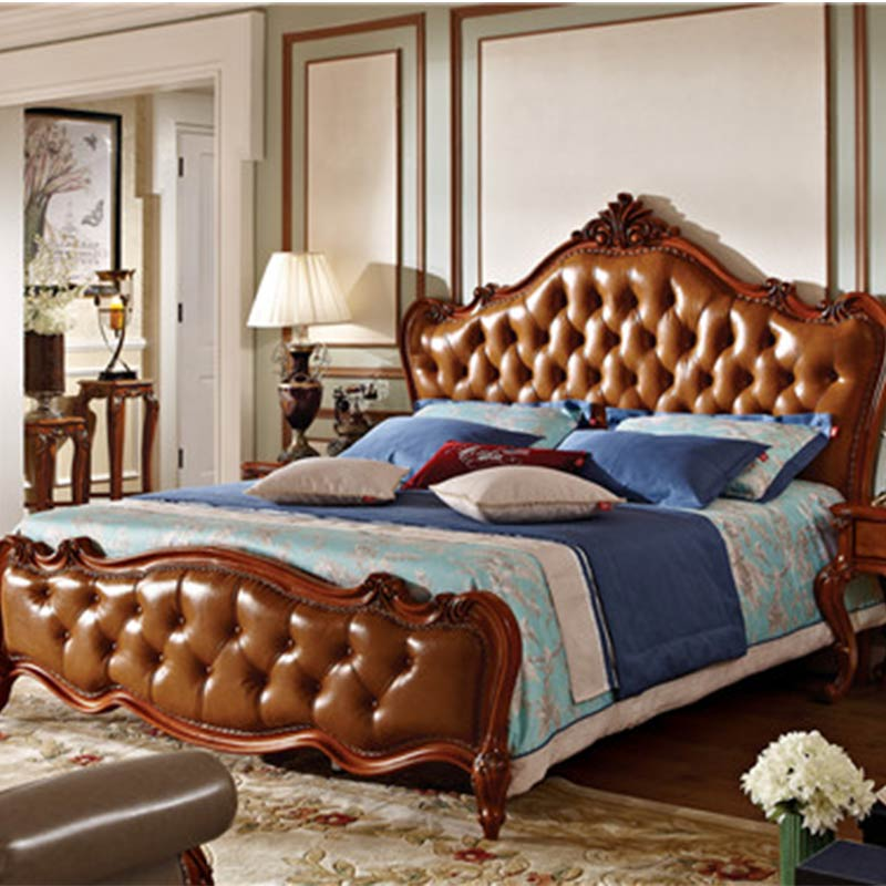 US $1299.0  American Classic Style Carved Solid Wood King Bed bedroom  furniture wood antique bed-in Bedroom Sets from Furniture on AliExpress