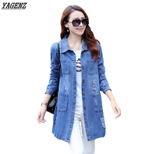 YAGENZ Plus Size 5XL New Women's Long Denim Jackets Coats Spring Autumn Holes Jeans Outerwear Female Fashion Casual Tops K265
