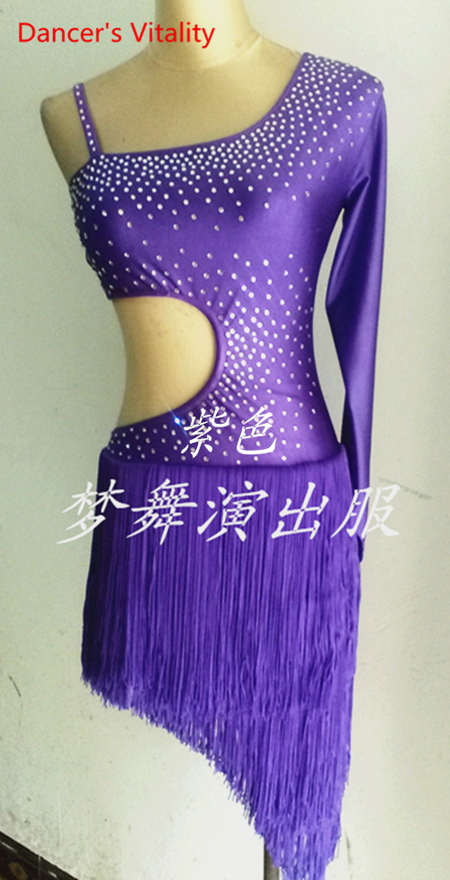 Dancers Vitality Shoulder Straps Waist Thread Empty Latin Dance Dress Women Samba Salsa Tango Dress For Latin Competition Dress
