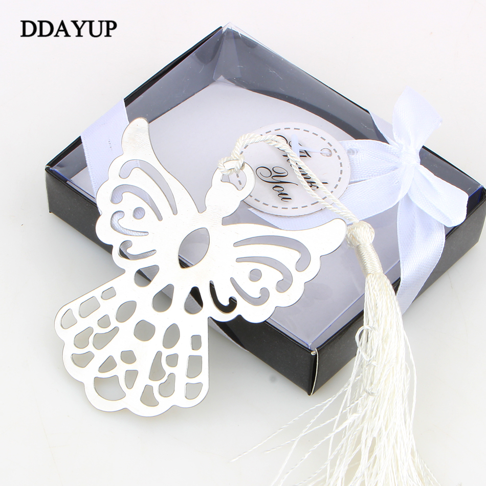 ezone creative flower hollow bookmarks vintage metal bookmark with chinese knot multifunctional stationery material escolar gift Creative Stainless Steel Bookmarks Angel wedding Guests Party Metal Bookmark Memo Stationery Book Tags For Kids Gift