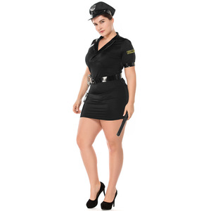Image 3 - Plus größe Sexy Polizei Frauen Kostüm Halloween Polizistin Sexy Anzug Cosplay Polizist Erwachsene Phantasie Kleid Outfits