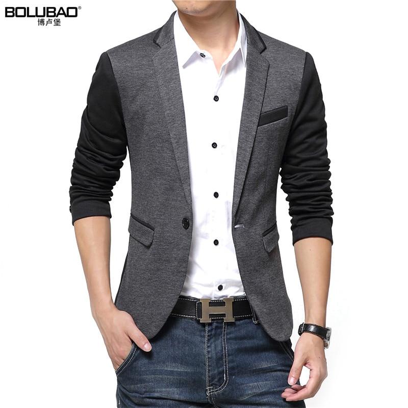2017 New Fashion Casual Men Blazer Cotton Slim Korea Style Suit Blazer Masculino Male Su ...